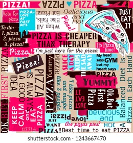 Pizza slogans, slice of pizza, sayings and quotes, seamless pattern, background