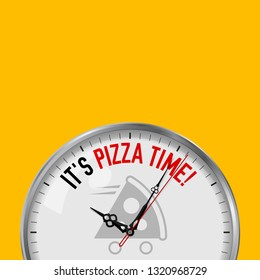 It's Pizza Time. White Clock with Motivational Slogan. Analog Metal Watch with Glass. Illustration Isolated on Solid Color Background. Pizza Fast Delivery Icon.