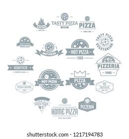 Pizzeria logo icons set. Simple illustration of 16 pizzeria logo icons for web