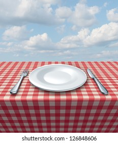 Family Restaurant Place Setting Classic Red Stock Illustration ...