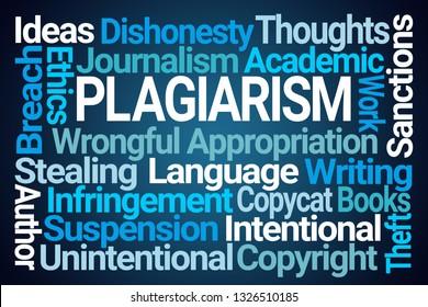 Plagiarism Word Cloud on Blue Background