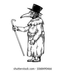 Plague doctor engraving raster illustration. Scratch board style imitation. Black and white hand drawn image.