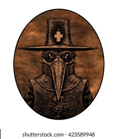 Plague doctor. graphic illustration on okd paper