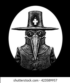 Plague doctor. graphic illustration on black background