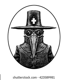 Plague doctor. graphic illustration on white background