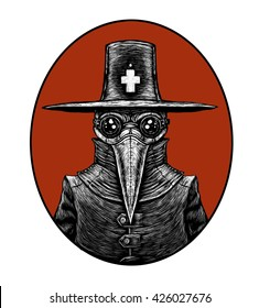 Plague doctor. graphic illustration on the white background