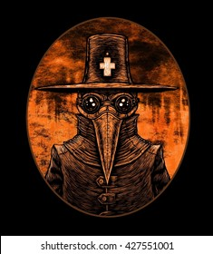 Plague doctor. graphic illustration on fire background