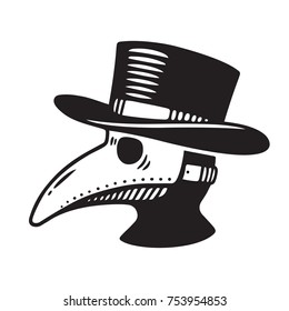 Plague doctor head profile, with bird mask and hat. Vintage engraving style drawing, black and white illustration.
