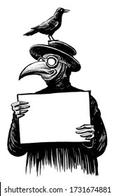 Plague doctor and raven with blank sheet. Ink black and white drawing