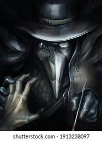 Plague Doctor resembling a scavenger crow