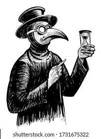 Plague doctor with sand clock. Ink black and white drawing