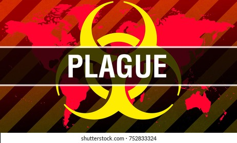 Plague on world map background with hazard symbol as Infection concept. 3D rendering  Plague concept background. health disease concept. Epidemic human virus disease cause death