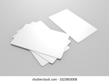 Plain blank playing card on grey background, 3d illustration.