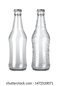 A plain clear glass beer bottle next to another with droplets of condensation on an isolated white studio background - 3D render