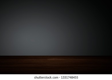 Plain dark gray wall with wooden floor product background