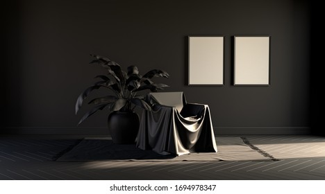 Plain monochrome dark color room with single chair covered by a cloth and a frame. dark background with copy space. 3D rendering for poster frames.