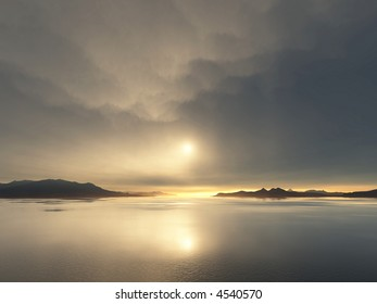 a plain scene with water, a low standing sun and a relaxing mood