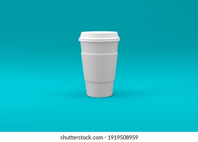 Plain white Coffee cup isolated on bright blue pastel background. 3D illustration. suitable for your design element.