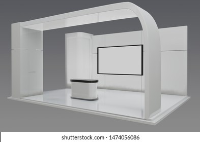 Plain white exhibition stand 3d illustration used for mock-ups and branding