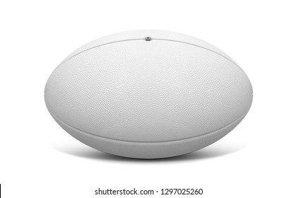 A plain white textured rugby ball on a isolated white background - 3D render