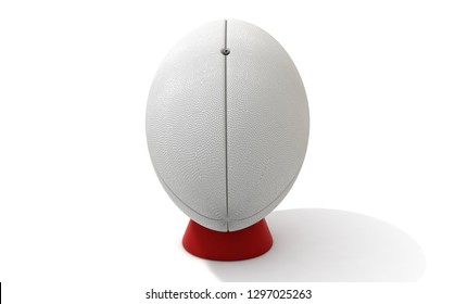 A plain white textured rugby ball on a kicking tee on a isolated white background - 3D render