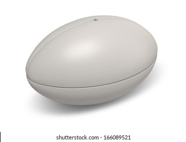 A plain white textured rugby ball on a isolated background