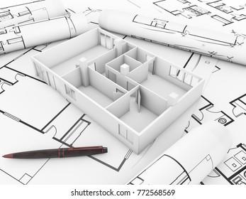 plan concept: render of a flat mock-up over plots 3d rendering.