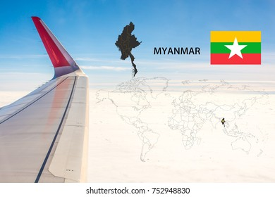 Plan on traveling long distances to Myanmar.The tail of the plane and Myanmar map on a world map with flag,On the backdrop is the sky and clouds.