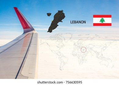 Plan on traveling long distances to Lebanon.The tail of the plane and Lebanon map on a world map with flag,On the backdrop is the sky and clouds.