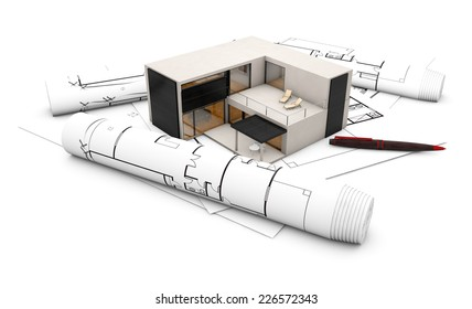 plan project concept: concrete house over plots isolated on white background