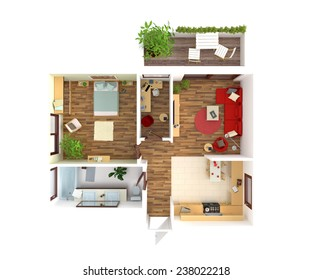 Plan view of an apartment:  Kitchen, Dining, Living, Bedroom, Hall, Bathroom.3D rendering