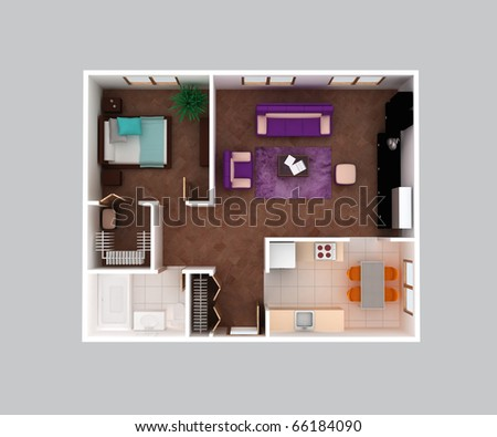 Plan View House Clear 3 D Interior Stock Illustration 66184090