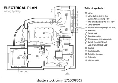 Plan wiring lighting. Electrical schematic  interior. Set of standard icons switches, electrical symbols for blueprint. Raster copy