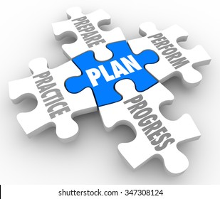 Plan word on a puzzle piece with Perform, Practice, Prepare and Progress connected to it as a blueprint for success in job, career or life in meeting a goal or objective