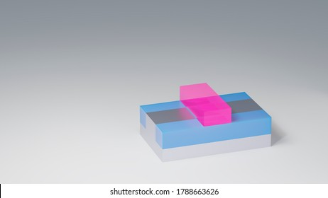 Planar CMOS transistor 3D render. Metal oxide semiconductor field effect transistor used for building semiconductor chips and integrated circuits. Pink - Gate, blue - Insulator, silver - Substrate.