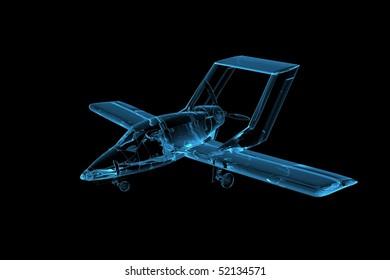 Plane 3D rendered xray blue transparent