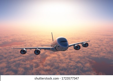 The plane is above the clouds.,3d render