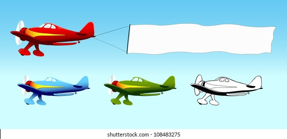 Plane with blank sky banner, aerial advertising, aircraft in different colors