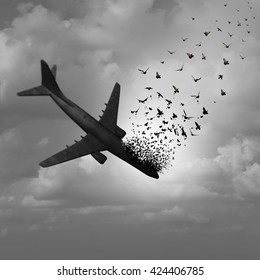 Plane Disappearance and missing flight concept as a plunging crashing airplane falling in the sky and tranforming into flying birds as a metaphor for aviation tragedy with 3D illustration elements.