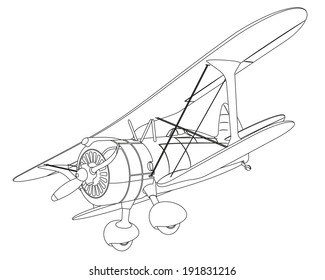 plane drawing on white background. illustration clip art