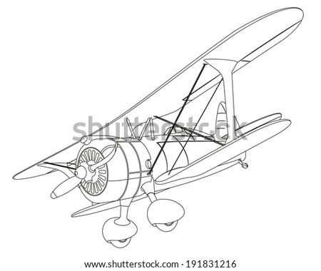 Plane Drawing On White Background Illustration Stock Illustration