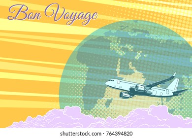 Plane flight travel tourism retro background Bon voyage. Pop art  illustration