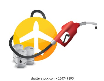 plane with a gas pump nozzle illustration design over a white background