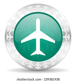 plane green icon, christmas button, airport sign