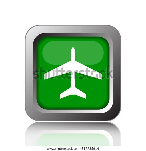 Plane icon. Internet button on white background.