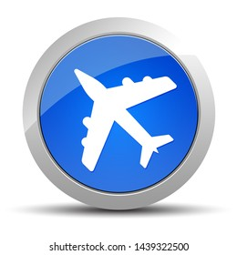 Plane icon isolated on blue round button illustration