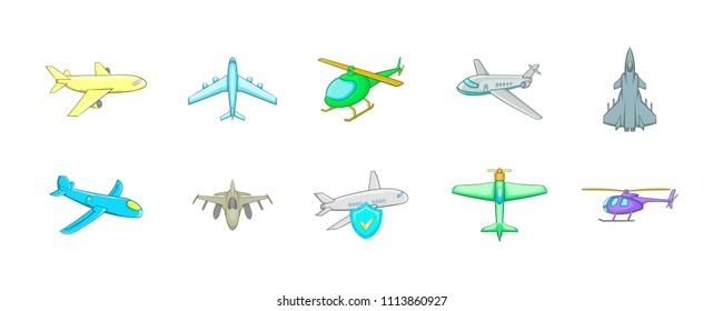 Plane icon set. Cartoon set of plane icons for your web design isolated on white background