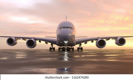 plane on the runway, 3d illustration