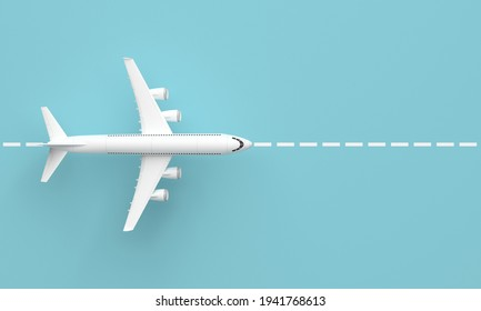 Plane on the runway. Top view and blue background. 3d rendering