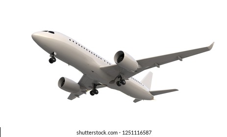 a plane on the White Blackground /3D rendering
